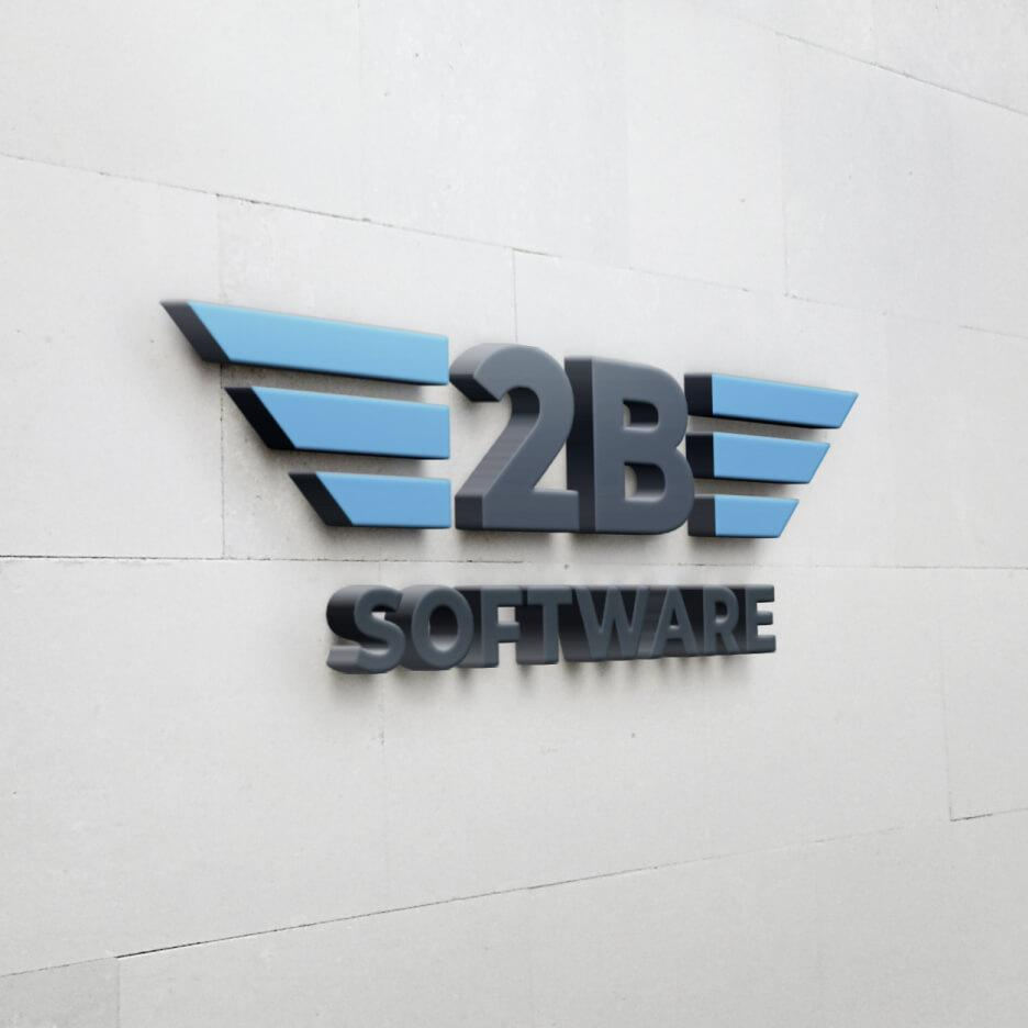 2B Software logo on the wall